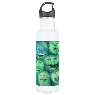 Funny Faces. Fun Cartoon Monsters. Green. 710 Ml Water Bottle