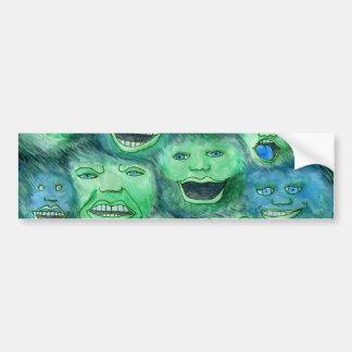 Funny Faces. Fun Cartoon Monsters. Green. Bumper Sticker