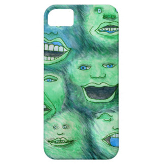 Funny Faces. Fun Cartoon Monsters. Green. iPhone 5 Cover