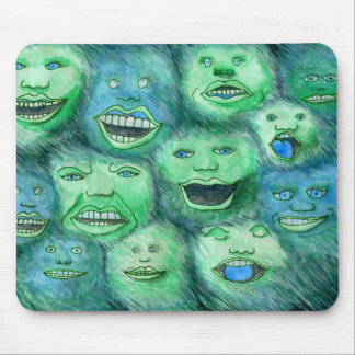 Funny Faces. Fun Cartoon Monsters. Green. Mouse Mat