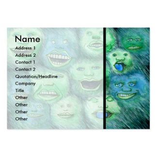 Funny Faces. Fun Cartoon Monsters. Green. Pack Of Chubby Business Cards