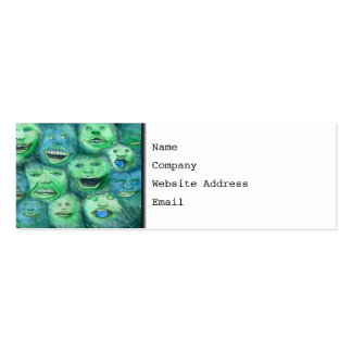Funny Faces. Fun Cartoon Monsters. Green. Pack Of Skinny Business Cards