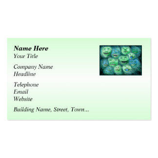 Funny Faces. Fun Cartoon Monsters. Green. Pack Of Standard Business Cards