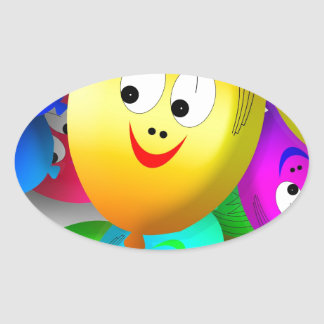 Funny Faces Oval Sticker