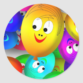 Funny Faces Round Sticker