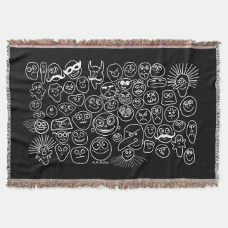 Funny Faces Throw Blanket