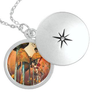 Funny fairy round locket necklace