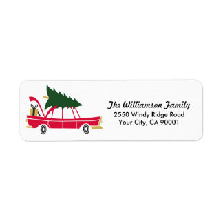 Funny Family Christmas Bringing Home Xmas Tree Return Address Label