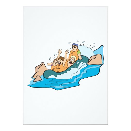 funny family whitewater rafting cartoon 13 cm x 18 cm invitation card