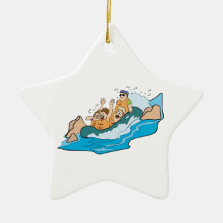 funny family whitewater rafting cartoon christmas ornament