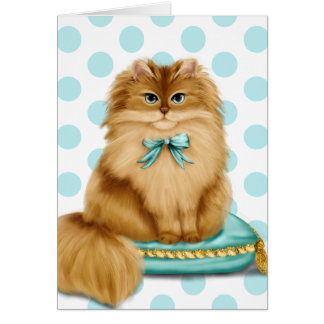 Funny Fancy Cat on Pillow Card