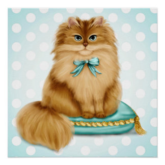 Funny Fancy Cat on Pillow Poster
