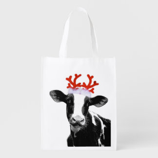 Funny Farm Animal Christmas Cow wearing Antlers
