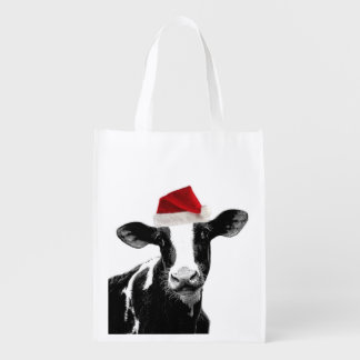 Funny Farm Animal Christmas Cow wearing Santa Hat