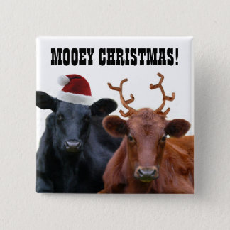 Funny Farm Mooey Christmas Cows Button