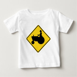 Funny Farm Tractor Road Sign Warning Baby T-Shirt