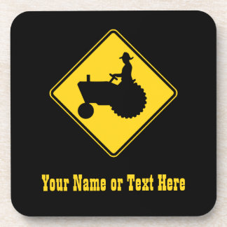 Funny Farm Tractor Road Sign Warning Coaster