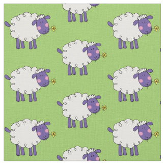 funny farm woolly sheep fabric