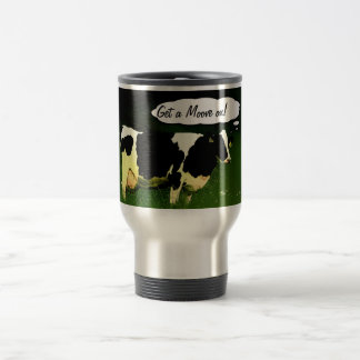 Funny Farmer Get a MOOve on! Travel Mug