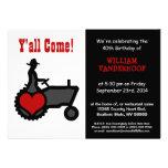 Funny  Farmer on Tractor Birthday Party Invitations