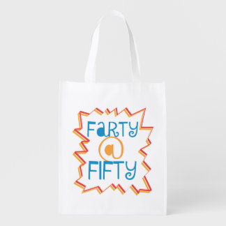 Funny Farty at Fifty 50th Birthday Gag Gift Reusable Grocery Bag