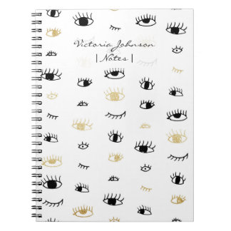 Funny fashion gold and black cute eyes pattern notebooks