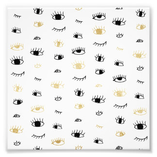 Funny fashion gold and black cute eyes pattern photo art