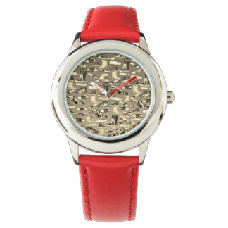 Funny Fashion Shoes Lover Cartoon Details Red Watches