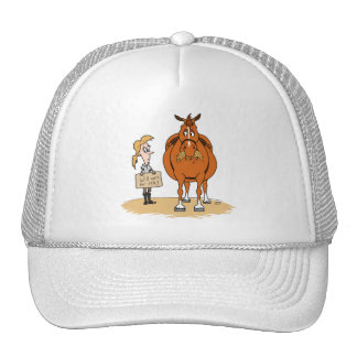 Funny Fat Cartoon Horse Woman Will Work For Hay Cap
