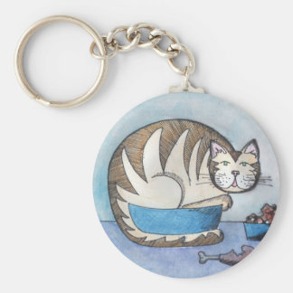 Funny Fat Cat Custom Key Chain