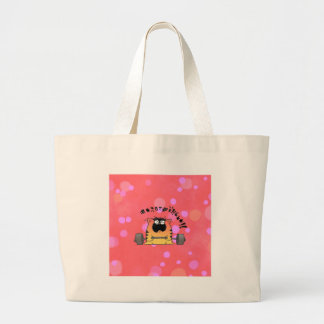 Funny Fat Cat Lift Weight Large Tote Bag