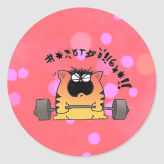 Funny Fat Cat Lift Weight Round Sticker