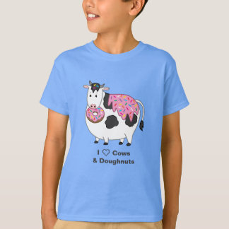 Funny Fat Holstein Cow Eating Sprinkle Doughnut T-Shirt