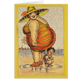 Funny Fat Lady on Beach Card