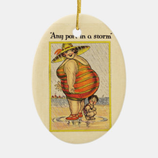 Funny Fat Lady on Beach Christmas Ornament
