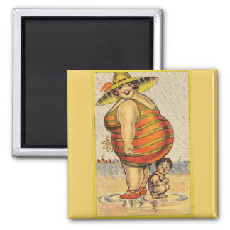 Funny Fat Lady on Beach Refrigerator Magnets