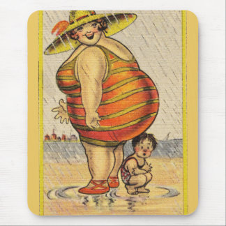 Funny Fat Lady on Beach Mousepads