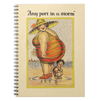Funny Fat Lady on Beach Spiral Notebook