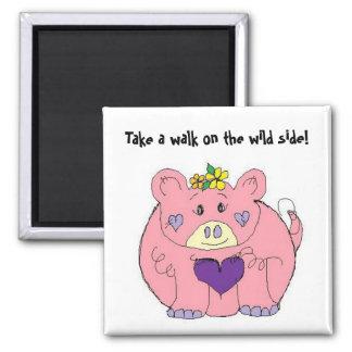 Funny Fat Pig Square Magnet