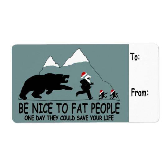 Funny fat Santa Shipping Label
