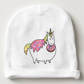 Funny Fat Unicorn Eating Sprinkle Doughnut Baby Beanie