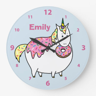 Funny Fat Unicorn Eating Sprinkle Doughnut Large Clock