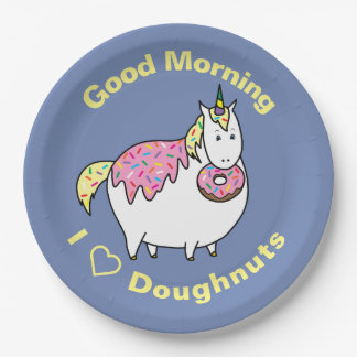 Funny Fat Unicorn Eating Sprinkle Doughnut Paper Plate
