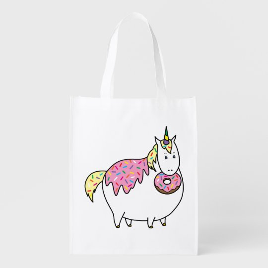 Funny Fat Unicorn Eating Sprinkle Doughnut Reusable Grocery