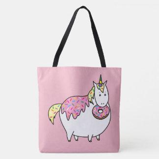 Funny Fat Unicorn Eating Sprinkle Doughnut Tote Bag