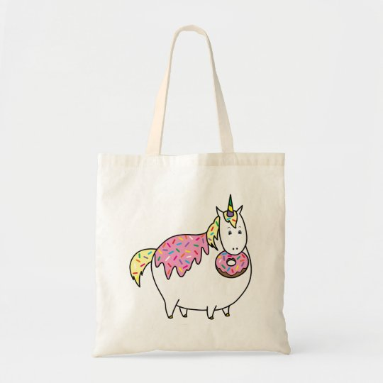 Funny Fat Unicorn Eating Sprinkle Doughnut Tote Bag