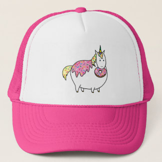 Funny Fat Unicorn Eating Sprinkle Doughnut Trucker Hat