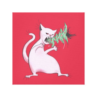 Funny Fat White Cat Eats Christmas Tree Canvas Print