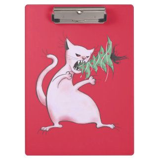 Funny Fat White Cat Eats Christmas Tree Clipboard