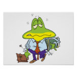 funny fatigued tired working man frog print